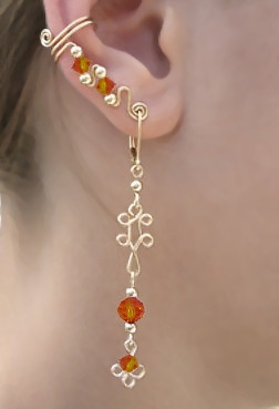 Ear Wrap with Swarovski Fire Opal Crystals