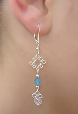 Silver Lever Back Earring with Swarovski Aquamarine Crystals