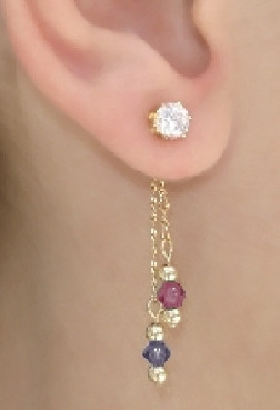 Ear Stud with Dangle in Back