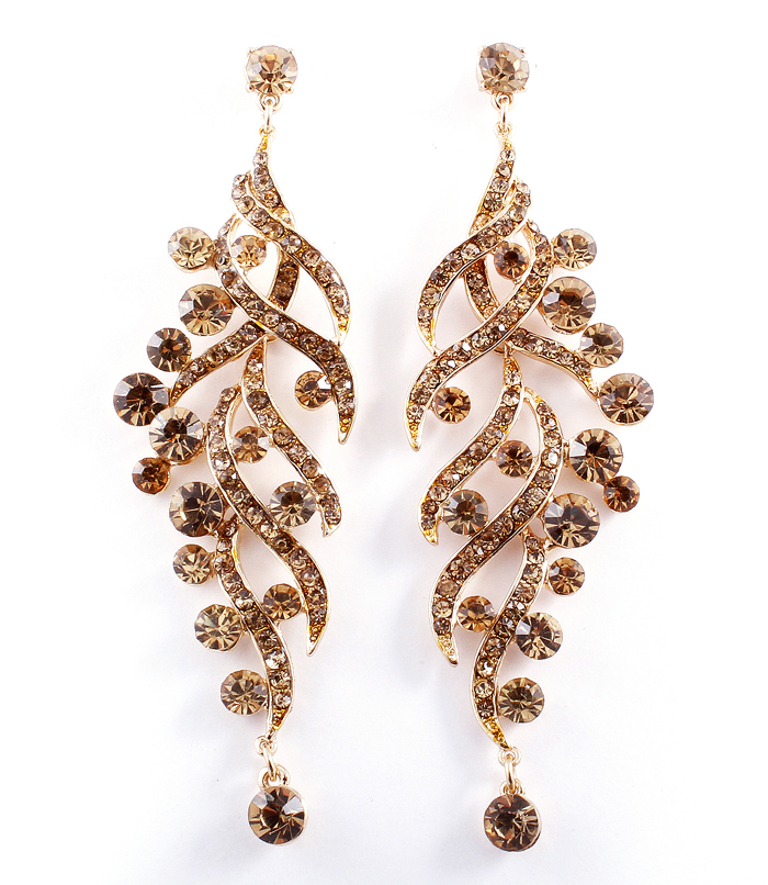 Gold toned drop earrings with tangled smokey topaz gold for Tangle creations ebay
