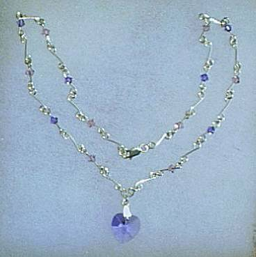 Silver Necklace with Swarovski Lt Amethyst and Tanzanite Crystals