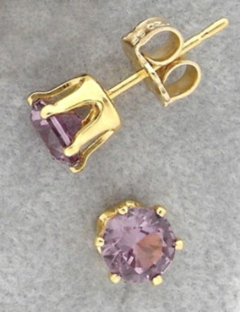 Ear Studs with Simulated Alexandrite Birthstones